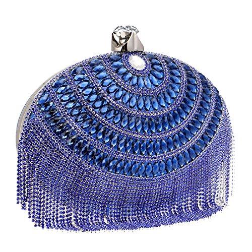 Las Crossbody color Blue Los Embragues Mujeres Borlas Del Noche Bolsos De Lujo Bolso Houyazhan Zwt41y