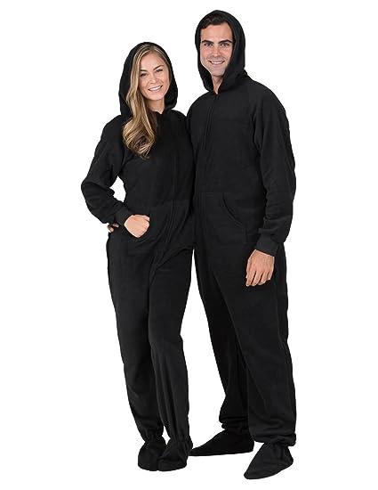 Footed Pajamas - Midnite Black Adult Hoodie Drop Seat Fleece- Medium Plus/Wide