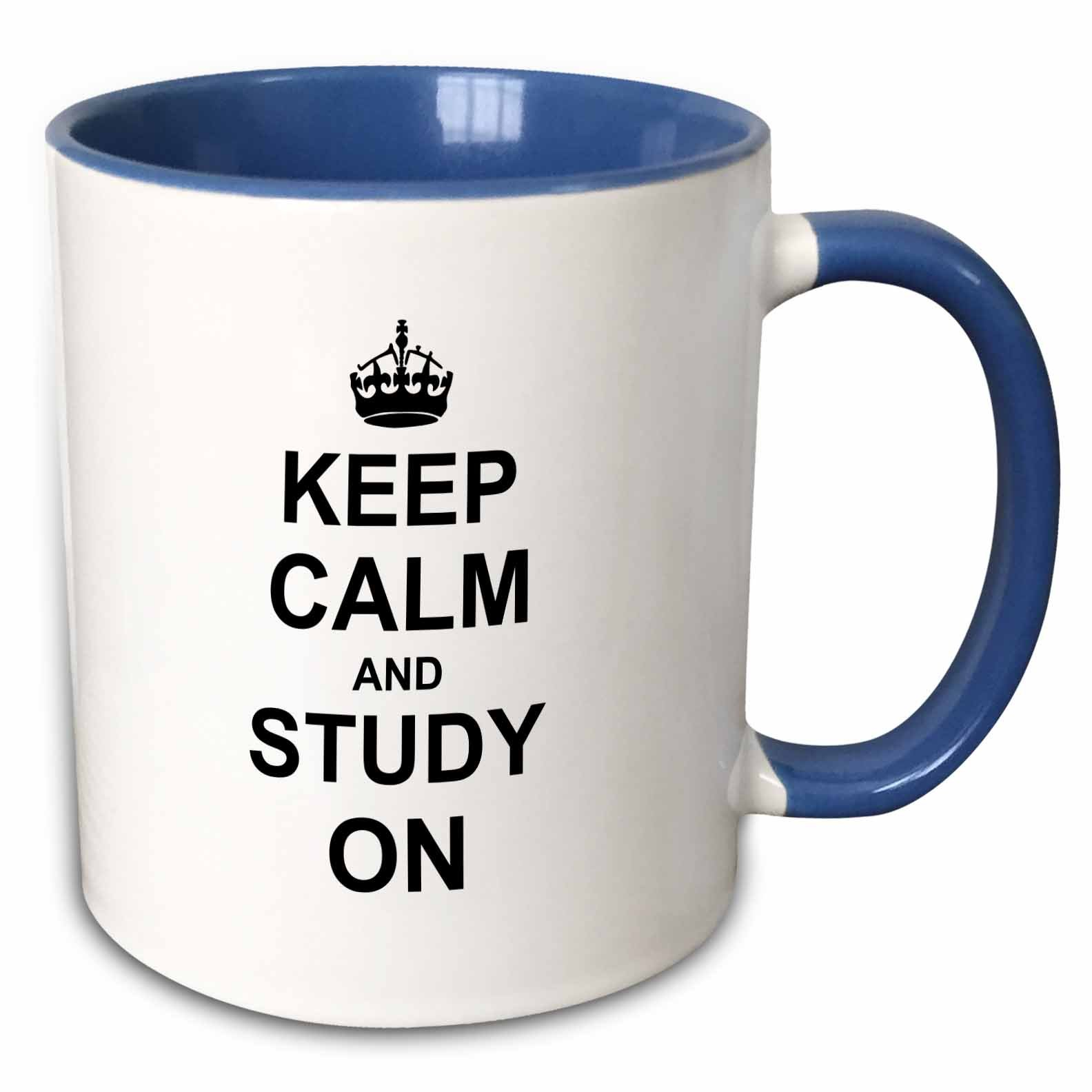 3dRose (mug_157775_6) Keep Calm and Study on - carry on studying - college school or university student funny humor gifts - Two Tone Blue Mug, 11oz