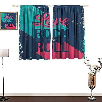 Amazon com: Custom Curtain Rock Music Vintage I Love Rock