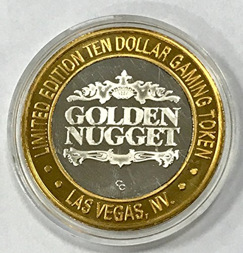 1994 Golden Nugget Hotel & Casino Silver Casino Token $10 About Uncirculated