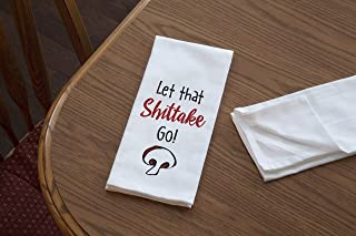 product image for Imagine Design Relatively Funny Let That Shittake Go, Heavy Weight 100% Cotton Kitchen Towel, Red/White/Black