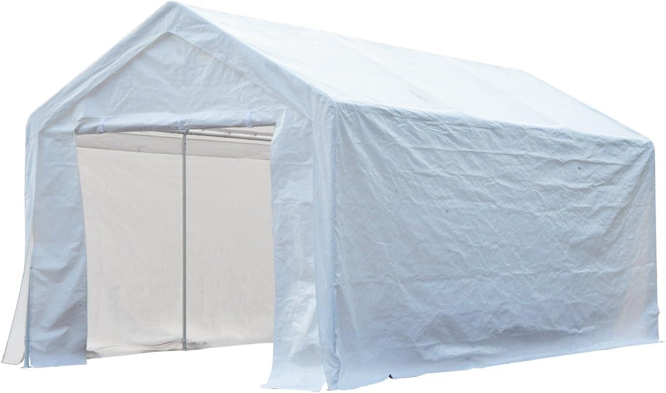Outsunny Carpa Pabellón de Jardín para Fiesta o Boda 6x3x2,8m Gazebo Cenador de Acero Galvanizado Pérgola de Color Blanco 2 en 1 Garaje Coche: Amazon.es: Hogar