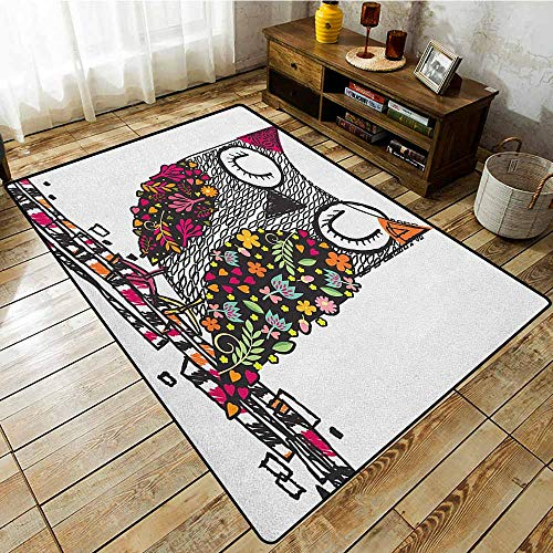 Outdoor Patio Rug,Owls,Owl Shaped by Geometric Floral Blooms Plants Patterns Colorful Artful Doodle Design,Anti-Slip Doormat Footpad Machine Washable,5'6