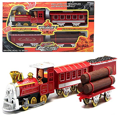 (UiiQ Diecast Train Toy Set Pull Back Classic Red Steam Locomotive Engine Car with Lights and Sounds for Kids 4Pcs)