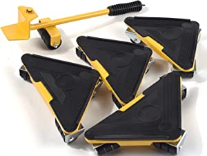 Upgraded Heavy Furniture Lifter with Triangle Moving Slide Mover Tool Set Mover Roller Load Suitable for 880-1100lb (400-500kg) 5 Pieces, Yellow