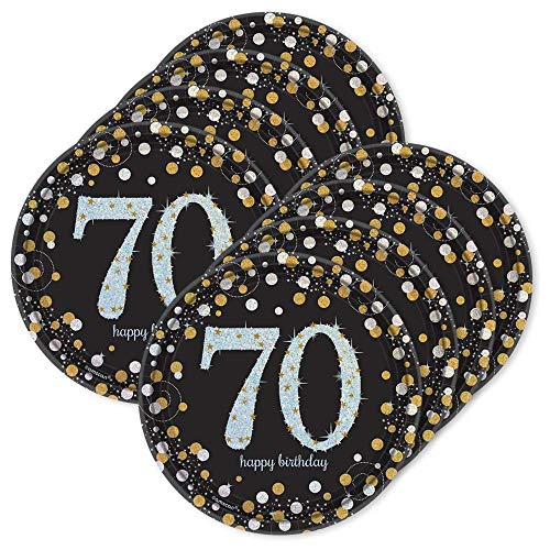 BirthdayExpress Sparkling Celebration Dessert Plates 70th (24) -