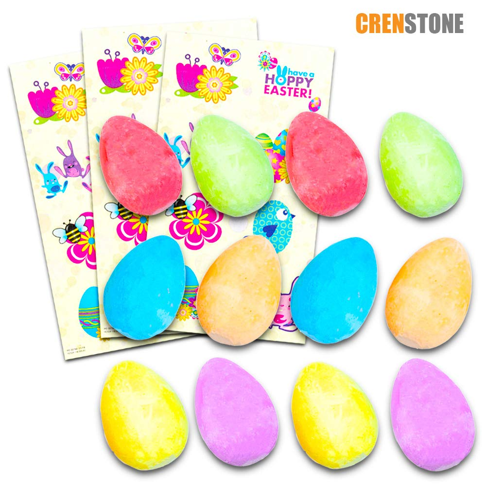 Spring Colors Crenstone Easter Egg Chalk and Easter Stickers Set for Kids Toddlers 12 Chalk Eggs Easter Egg Hunt Supplies Toys