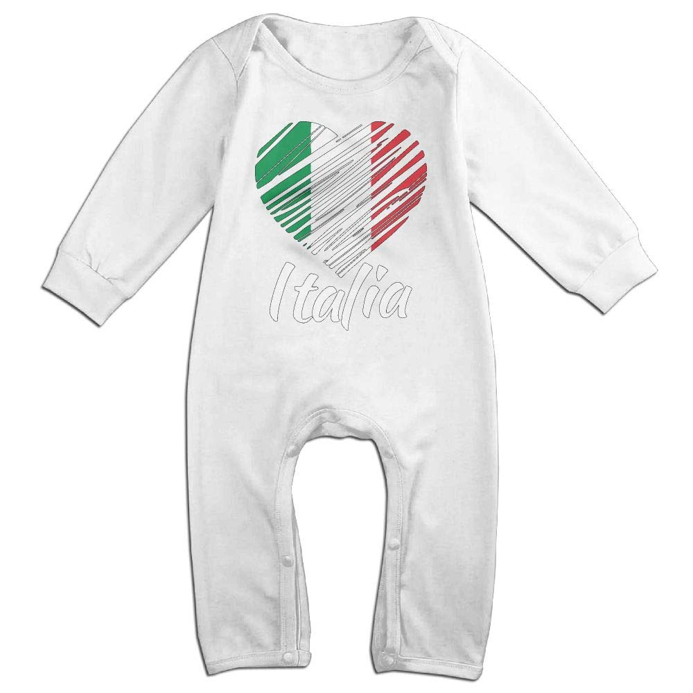 UGFGF-S3 Italian Heart Long Sleeve Infant Baby Boy Girl Baby Bodysuit for 6-24 Months Bodysuit