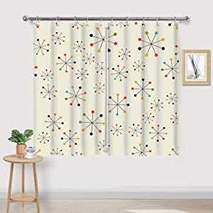 mid Century Kitchen Curtains, 60S Mid Century Absctract Geometric Retro 1950S 1960S MCM Home Decor Window Curtain Panel, Retro Window Curtains, Modern Curtain Panels Sets with Hooks, 55X39 in