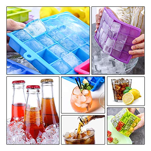 Ice Cube Trays 2 Pack,Silicone Ice Tray with Removable Lid Easy-Release Flexible Ice Cube Molds 24 Cubes per Tray for Cocktail, Whiskey, Baby Food, Chocolate, BPA Free