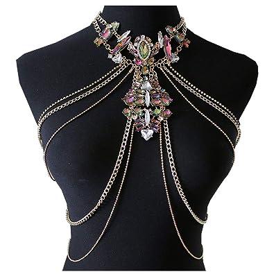 83b83c91ca44fc Amazon.com  NABROJ Women Body Chain Jewelry Colorful