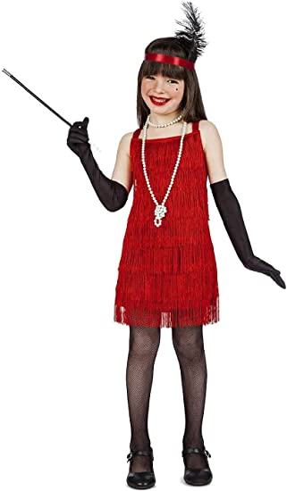 Kimokawaii Disfraz Charleston Color Rojo Talla 3-4 AÑOS TAMAÑO ...