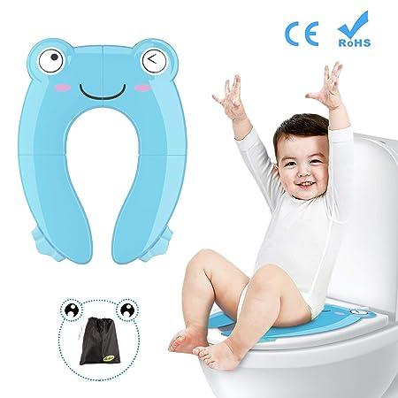Besfair Kinder Toilettensitz, Faltbarer Toilettentrainer für Unterwegs, Tragbar Reise WC Sitz Kleinkind Töpfchentrainer mit A