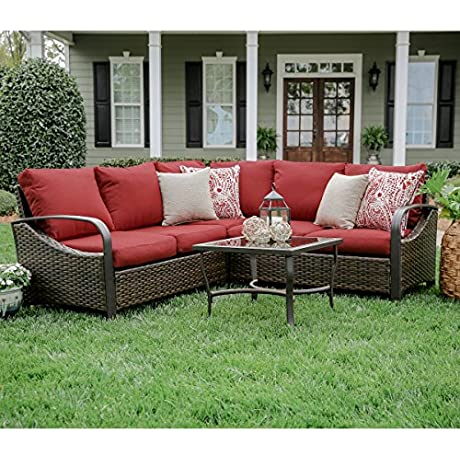 Leisure Made 4 Piece Trenton Wicker Sectional Red Fabric