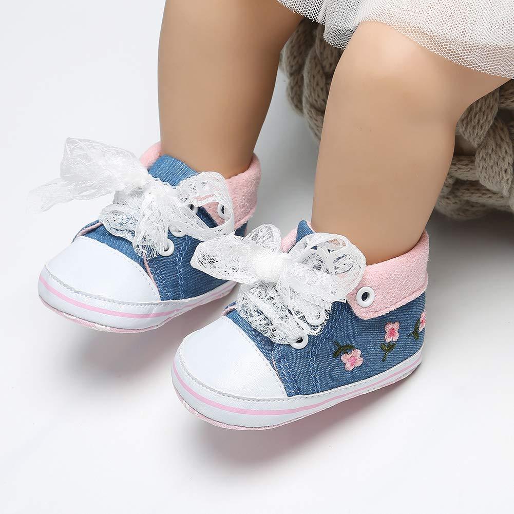 Alamana Fashion Flower Decor Infant Baby Girl Princess Soft Prewalker Toddler Shoes Gift Cowboy Blue 11cm