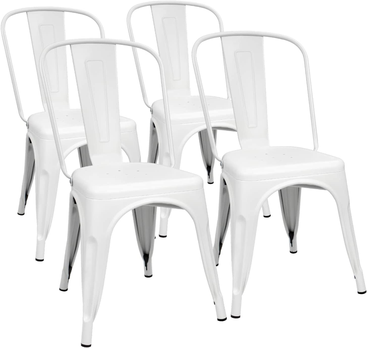 Furmax Metal Dining Chair Indoor-Outdoor Use Stackable Classic Trattoria Chair Chic Dining Bistro Cafe Side Metal Chairs Set of 4 (Ivory White)