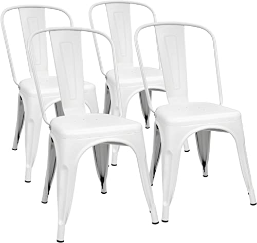 Furmax Metal Dining Chair Indoor-Outdoor Use Stackable Classic Trattoria Chair Chic Dining Bistro Cafe Side Metal Chairs Set of 4 Ivory White