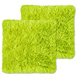 Sweet Home Collection Plush Pillow Faux Fur Soft and Comfy Throw Pillow (2 Pack), Lime