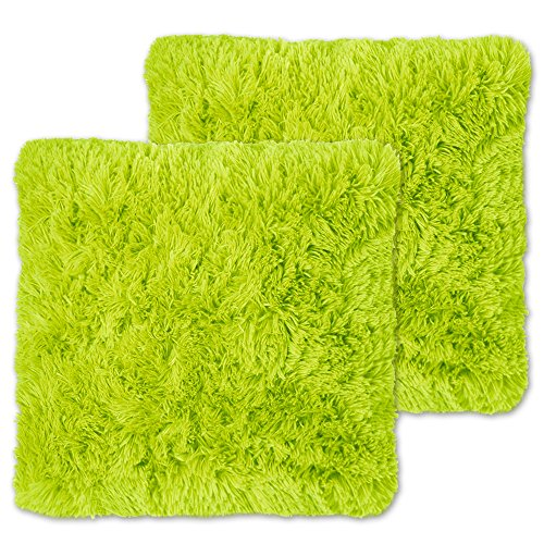 Lime Throw (Sweet Home Collection Plush Pillow Faux Fur Soft and Comfy Throw Pillow (2 Pack), Lime)