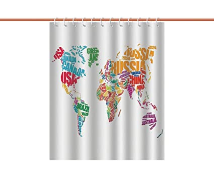 Amazon cool shower curtain wanderlust decorworld map made by cool shower curtain wanderlust decorworld map made by names continents europe america africa gumiabroncs Gallery