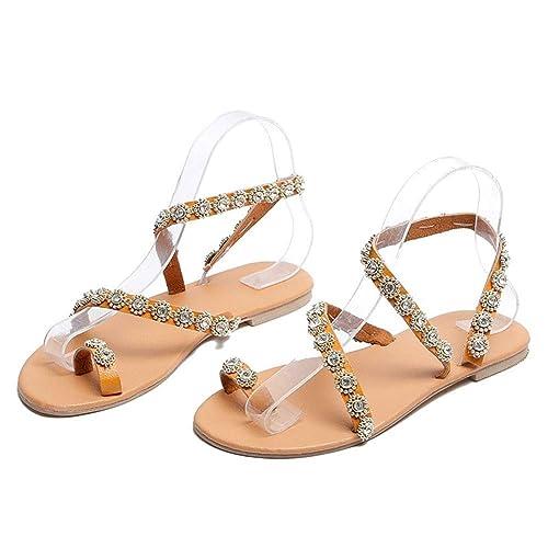 Vintage De Planas Cuero Mujer Verano Sandalias Abalorios Moda w0PnXk8O