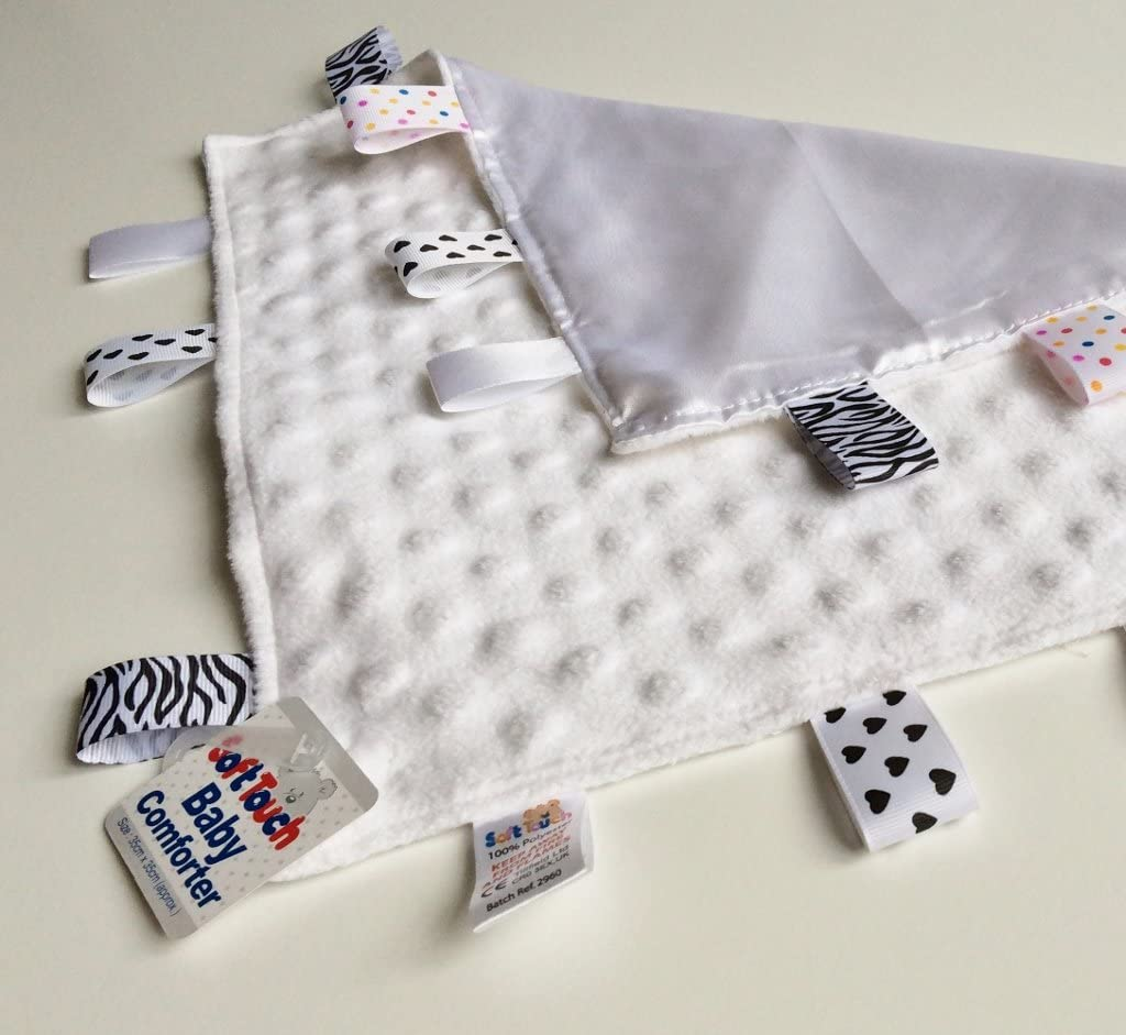 PERSONALISED BABY//TODDLER TAGGY BLANKET//COMFORTER//GIFT IN WHITE **MANY OPTIONS**