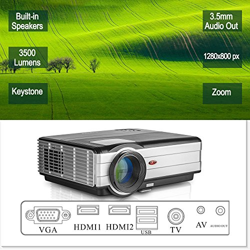 Home Entertainment Video Projector LED LCD Indoor Outdoor Cinema Projector 3500 Lumens Multimedia HD HDMI Digital Image Home Theater System for Android Phone Kindle Fire iPhone Samsung Xbox Mac DVDs by EUG