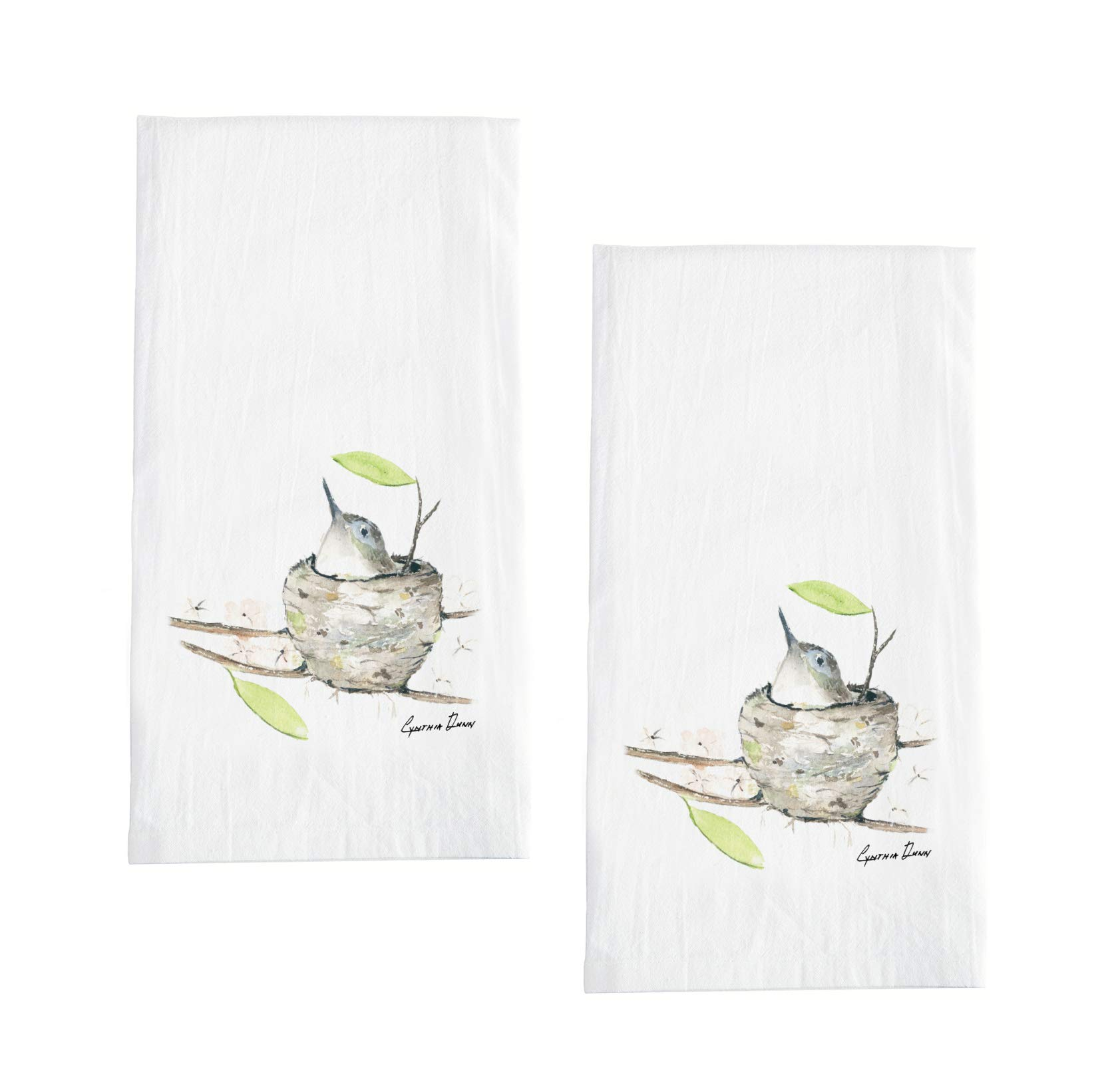 Sullivans Set of 2 Cotton Flour Sack Hand Towels with Watercolor Bird Motif - 28''x28''