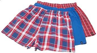 Splash Cotton Plaid Elastic-Waist Boxers For Men - Pack of 3 XL