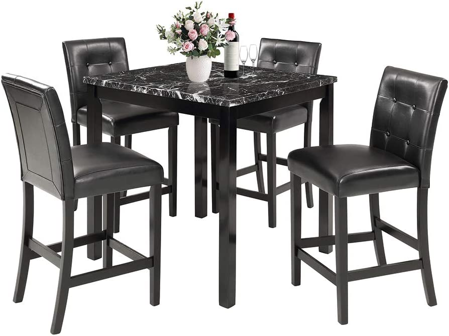 MOOSENG, 5 Pieces Dining Set, Marble Top Counter Height Table and 4 Leather-Upholstered Chairs, Perfect for Kitchen, Breakfast Nook, Living Room Occasions, Black