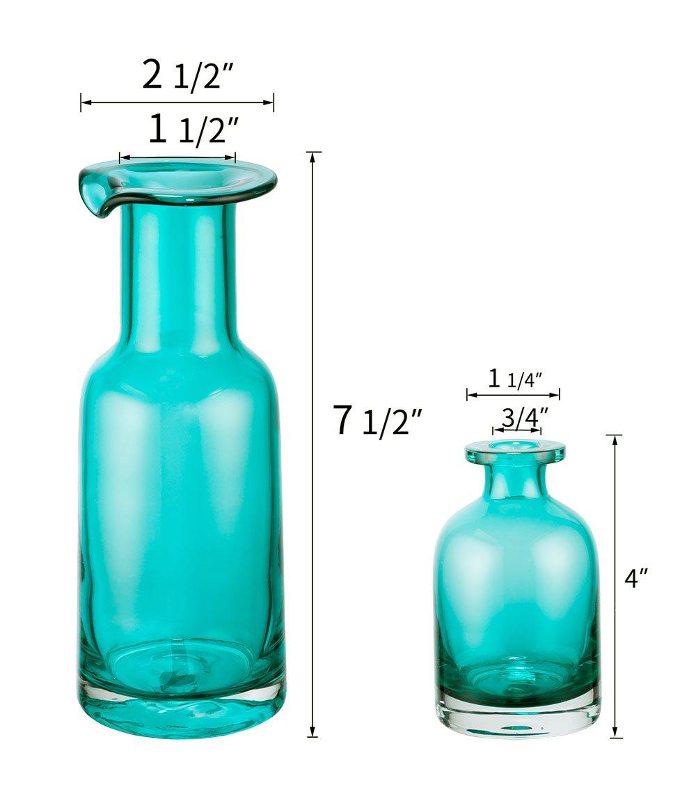 Mkono Blue Flower Vase Decorative Art Glass Home Decor Set of 2, Blue