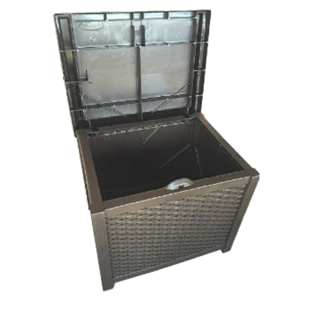20 Gallon Deck Box Patio Wicker Storage Furniture Seat Outdoor Indoor Garden Yard Resin Basket Container & eBook