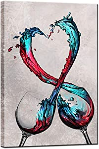 sechars - Modern Canvas Wall Art Romantic Turquoise Red Wine in Heart Splash Painting for Kitchen Dining Room Pub Bar Wall Decor Contemporary Art Stretched and Framed Ready to Hang