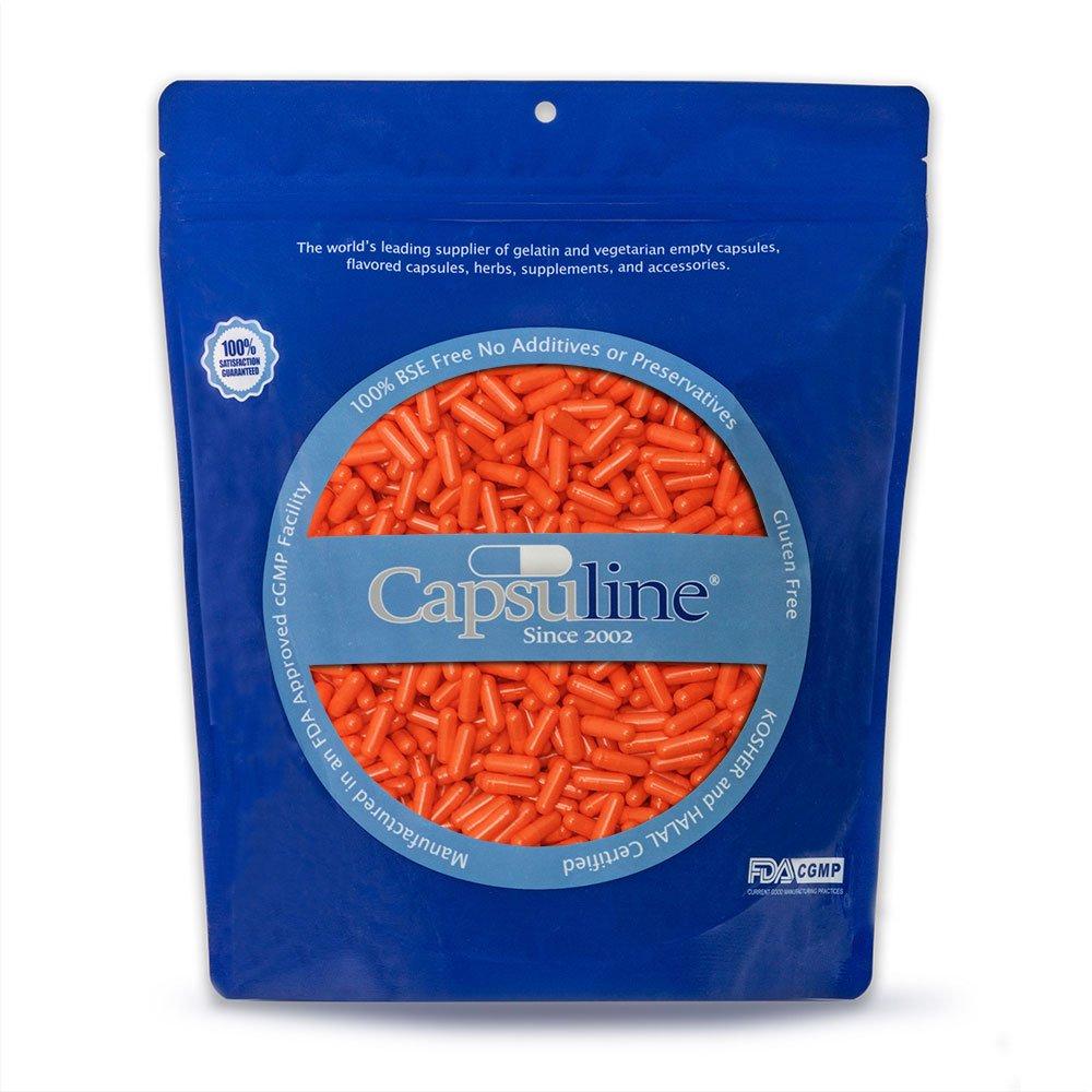 Colored Size 00 Empty Gelatin Capsules by Capsuline – Orange Orange 10000 Count
