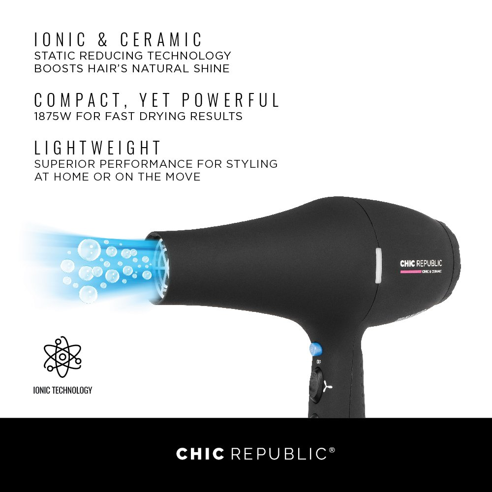 Professional Ionic Hair Dryer - Powerful Ceramic Blow Dryer - Quiet & Fast Hairdryer - Small, Ultra Lightweight Compact for Travel - 2 Diffuser Nozzles - 1875W - Premium Soft Touch Body by CHIC REPUBLIC (Image #3)