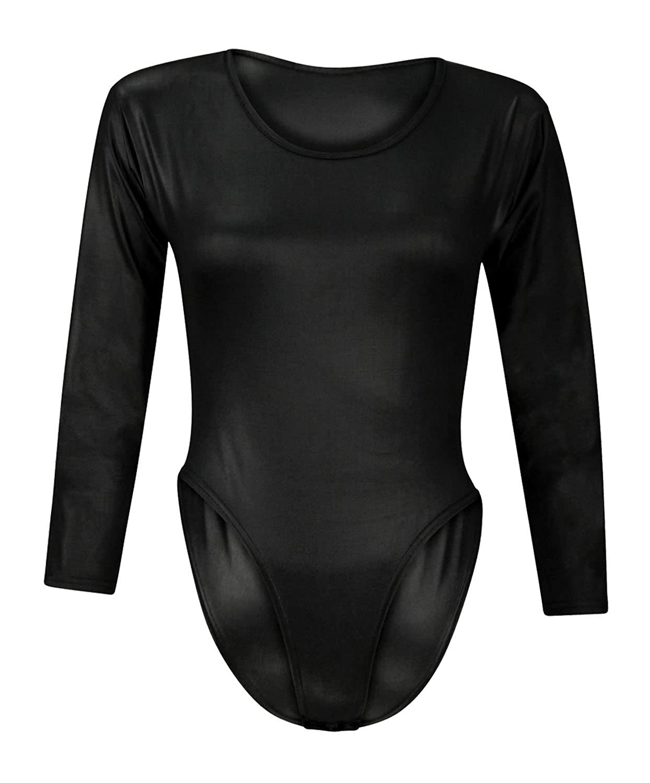 Forever Women's Plain Long Sleeves Wetlook Bodysuit Leotard Top Made In Uk