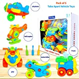 Take Apart Toys (pack of 5), STEM Learning Vehicles Play Set, Builds Problem Solving and Fine Motor Skills For Boys Girls Toddlers Age 3 4 5 6 Years Old | Gift Idea For Engineering, Building Toys