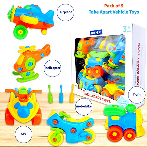 Developing Fine Motor Skills - Take Apart Toys (pack of 5), STEM Learning Vehicles Play Set, Builds Problem Solving and Fine Motor Skills For Boys Girls Toddlers Age 3 4 5 6 Years Old | Gift Idea For Engineering, Building Toys