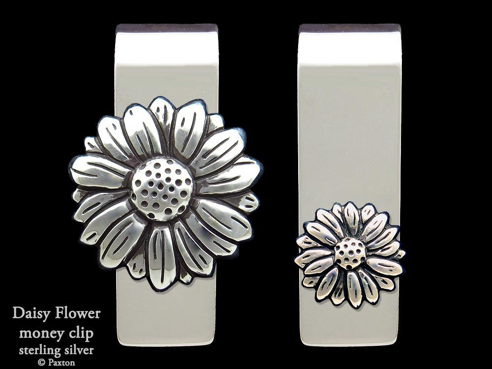 Daisy Flower Money Clip in Solid Sterling Silver Hand Carved, Cast & Fabricated by Paxton