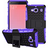 Heartly Flip Kick Stand Spider Hard Dual Rugged Armor Hybrid Bumper Back Case Cover For Xiaomi Redmi 2 / Redmi 2 Prime Dual Sim - Frame Purple