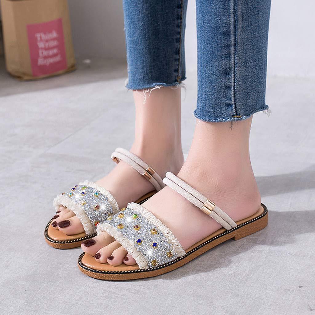 2019 Summer Women Boho Beach Rhinestone Shoes Casual Solid Open Toe Slippers Seaside Comfort Flat Sandals
