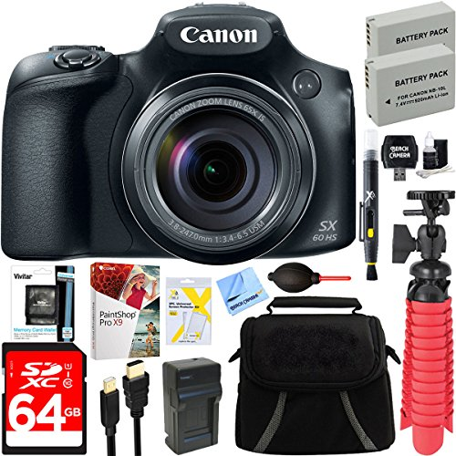 Canon PowerShot SX60 HS 16.1MP 65x Optical Zoom Wide Angle Lens Digital Camera + Two-Pack NB-10L Spare Batteries + Accessory Bundle