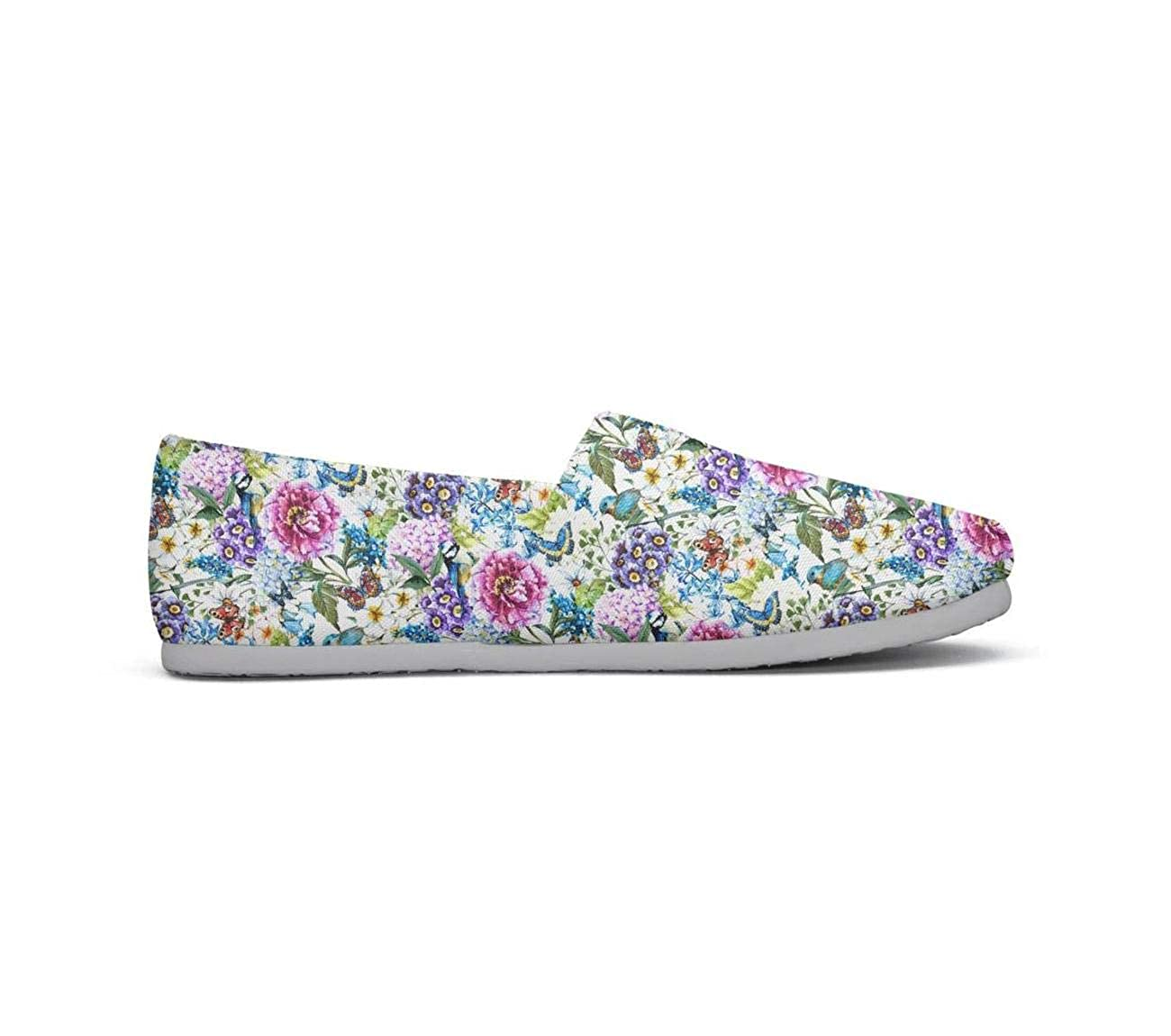 Colorful Flower Seamless Tropical Patterns Girl Lightweight Casual Canvas Retro Sneakers Jogger Shoes