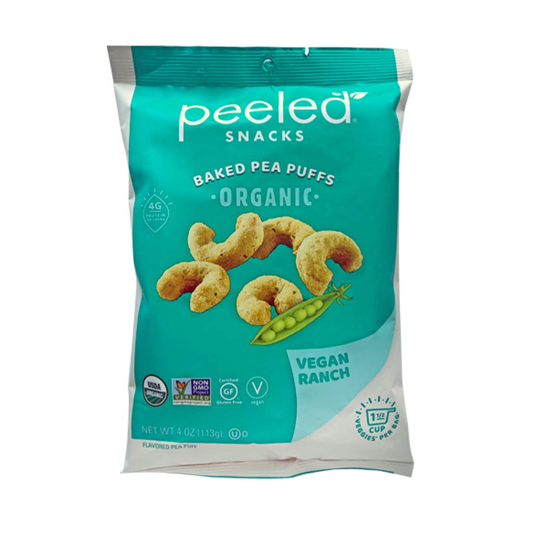 Peeled Snacks Organic Baked Pea Puffs, Vegan Ranch, 4 Ounce