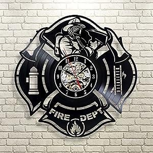Gran regalo para bomberos vinilo reloj de pared 16