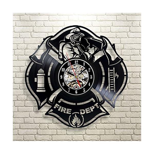 Gran regalo para bomberos vinilo reloj de pared 2