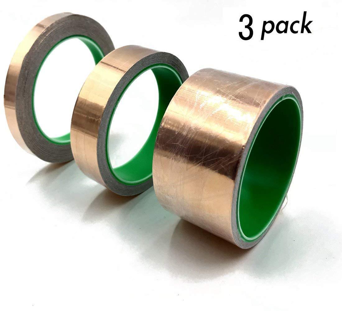 Copper Foil Tape Set for EMI Shielding, Slug Repellent, Grounding, Crafts, Electrical Repairs - Conductive Adhesive (3 Size)