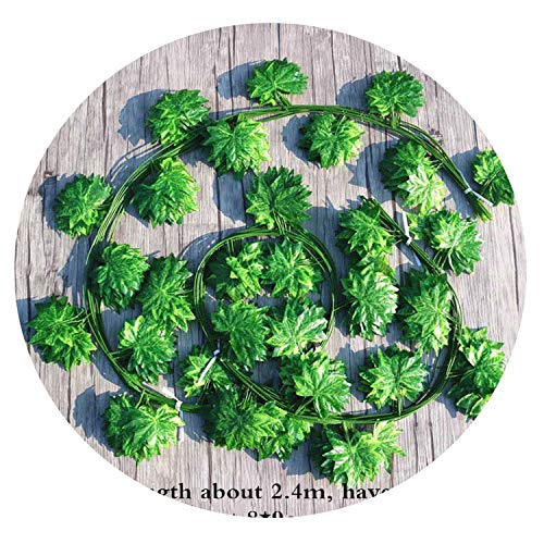 Simulation Maple Leaf Rattan Artificial Green Leaf Vine Wedding Decoration Home Hotel Restaurant Balcony Pipeline Decor 1 Bag,F 12pcs -