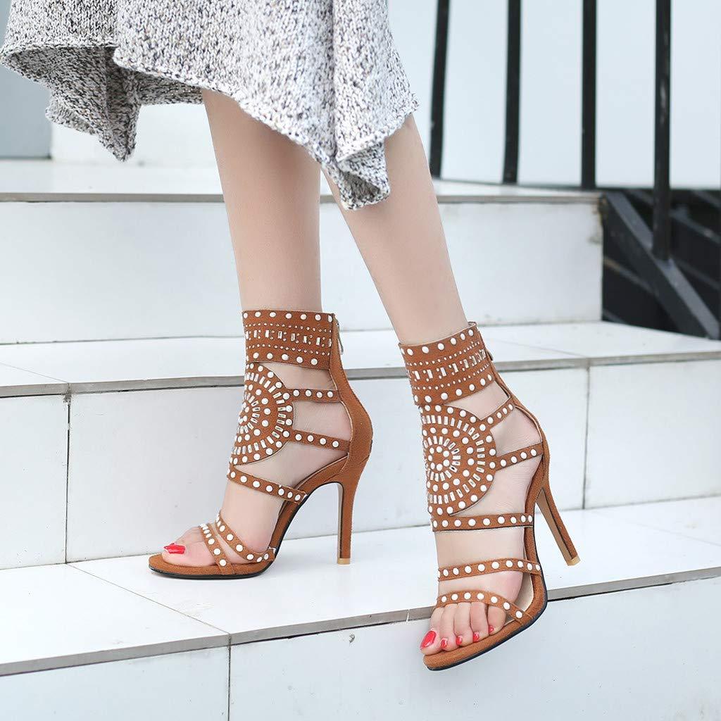 Orangeskycn Women High Heel Sandals Plus Size Fashion Rivet Back Zipper High Heel Open Toe Ankle Beach Shoes Sandals Brown by Orangeskycn Women Sandals (Image #2)